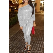 Lovely Casual Dew Shoulder Silver Sequined Two-pie