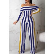 Lovely Casual Striped Blue One-piece Jumpsuit