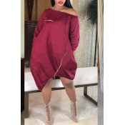 Lovely Casual Loose Red Knee Length Dress