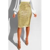 Lovely Trendy Skinny Gold Sequined Knee Length Ski