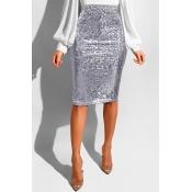 Lovely Trendy Skinny Silver Sequined Knee Length Skirts