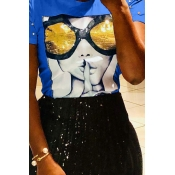 Lovely Chic Sequined Decorative Royal Blue Blending T-shirt