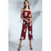 Lovely Bohemian Floral Printed Purplish Red Cotton
