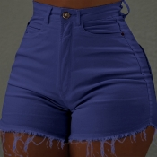 Lovely Trendy Skinny Blue Denim Shorts