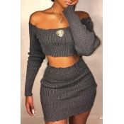 Lovely Casual Dew Shoulder  Grey Knitting Two-piec