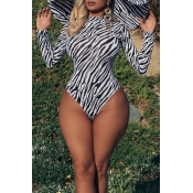 Lovely Sexy Printed Black And White One-piece Swim