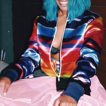 Encantadora Chaqueta De Rayas Multicolor Informal