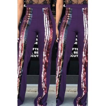 Lovely Trendy Sequined Decorative Purple Blending  Pants