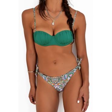 Lovely Trendy Ruffle Design Green Bikinis