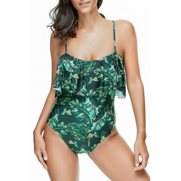 Lindo Sexy Floral Impresso Verde One-piece Swimwears