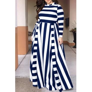 Lovely Casual Striped Dark Blue Floor Length Dress