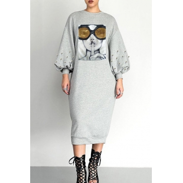 Lovely Trendy Printed Grey Mid Calf Dress