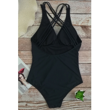 Lovely Sexy Backless Black One-piece Swimwears