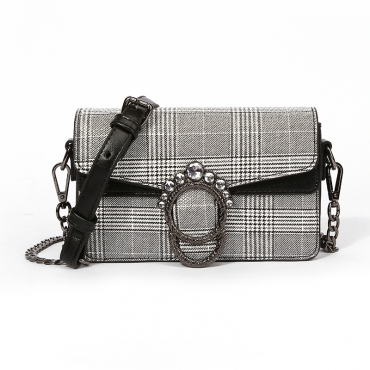 Lovely Trendy Grids Printed  Black And White Crossbody Bag