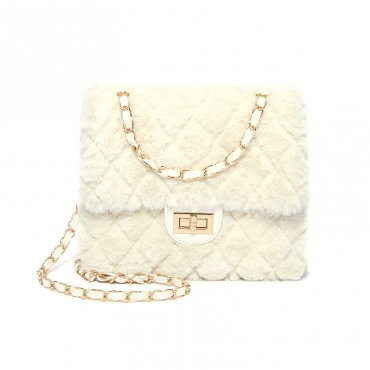 Lovely Vintage Metal Chain Strap  White Crossbody Bag