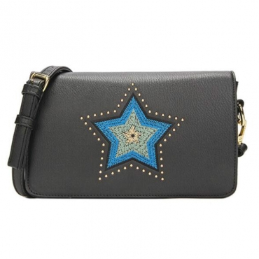 Lovely Elegant Embroidered Design Black Crossbody Bag