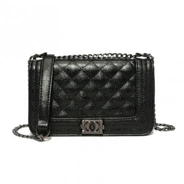 Lovely Elegant Metal Chain Strap Black Crossbody Bag