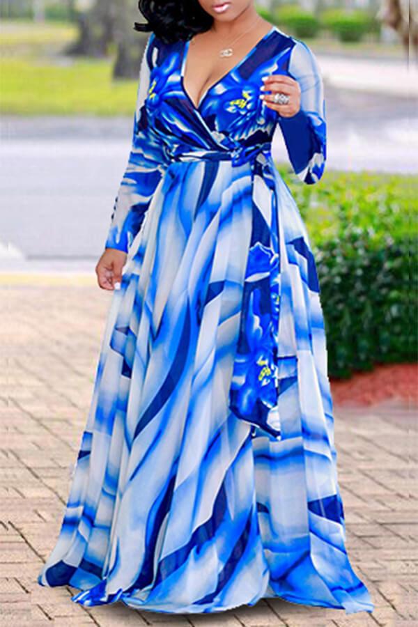 Lovely Casual Printed Blue Floor length Dress