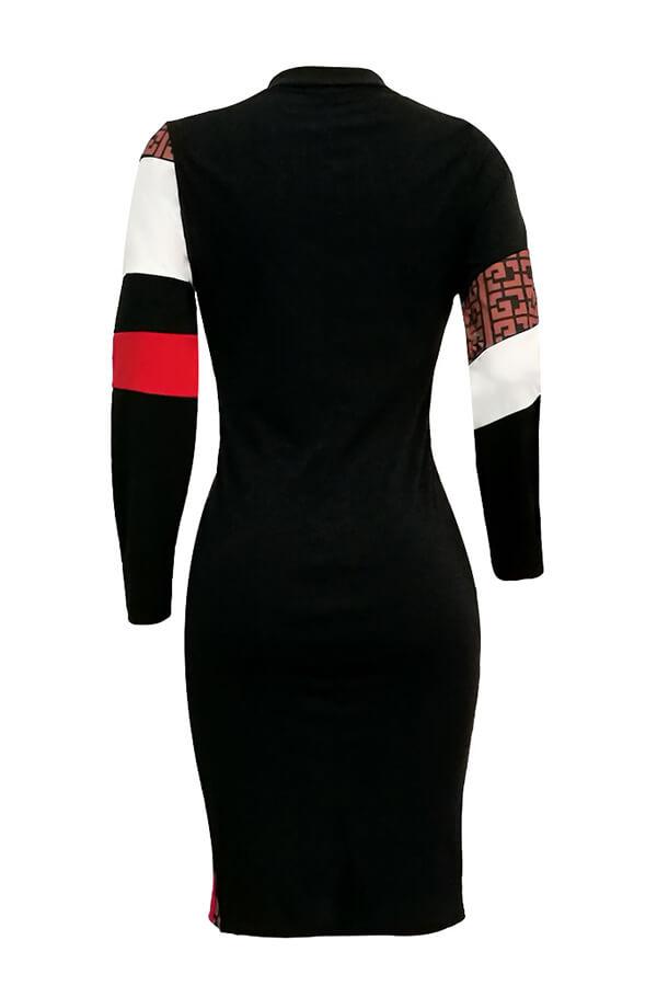 Lovely Trendy Patchwork Black Blending Knee Length Dress