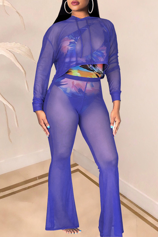 Lovely Sexy See-through Blue Two-piece Pants Set (Without Underwear )