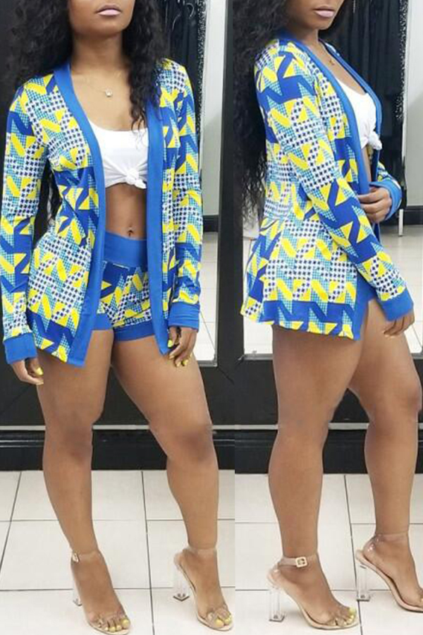 Lovely Casual Long Sleeves Blue Two-piece Shorts Set