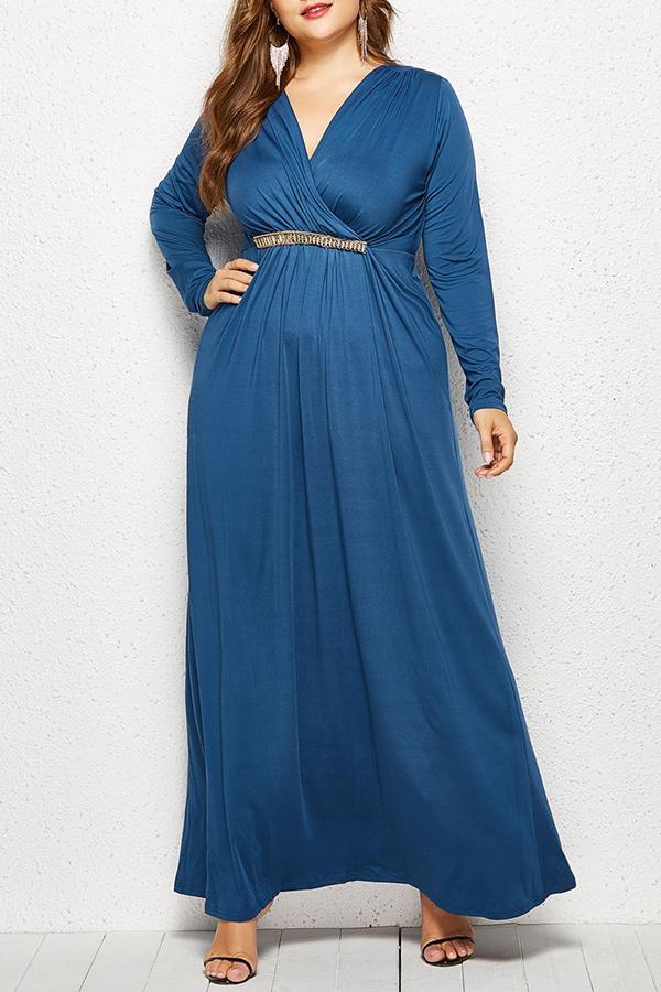 Lovely Casual  Long Sleeve Loose Blue Floor Length Dress