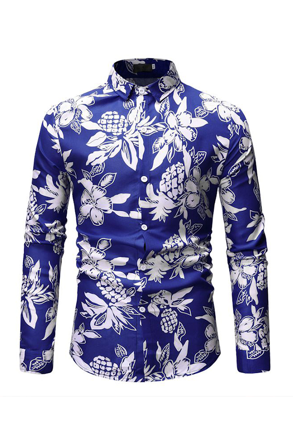Lovely Casual Floral Printed Blue Cotton Shirts