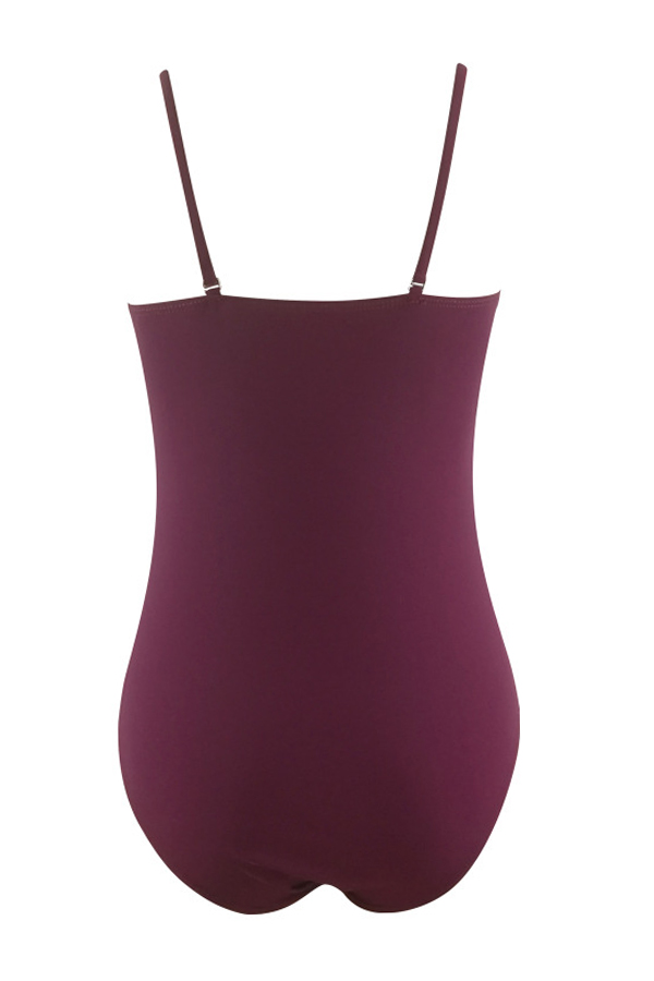 Lovely Sexy Lace-up Wine Red One-piece Swimwears