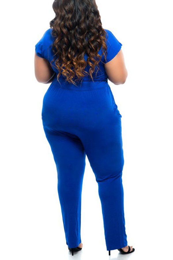 Lovely Casual Lack-up Blue One-piece Jumpsuit