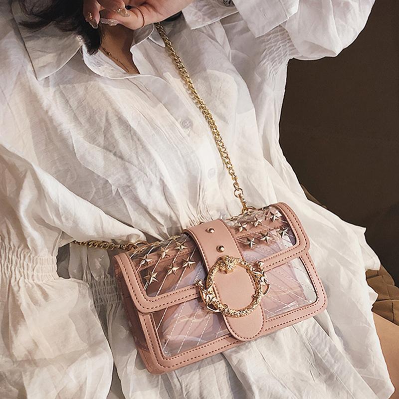 Lovely Fashion Rivet Decorative Pink  PU Crossbody Bag