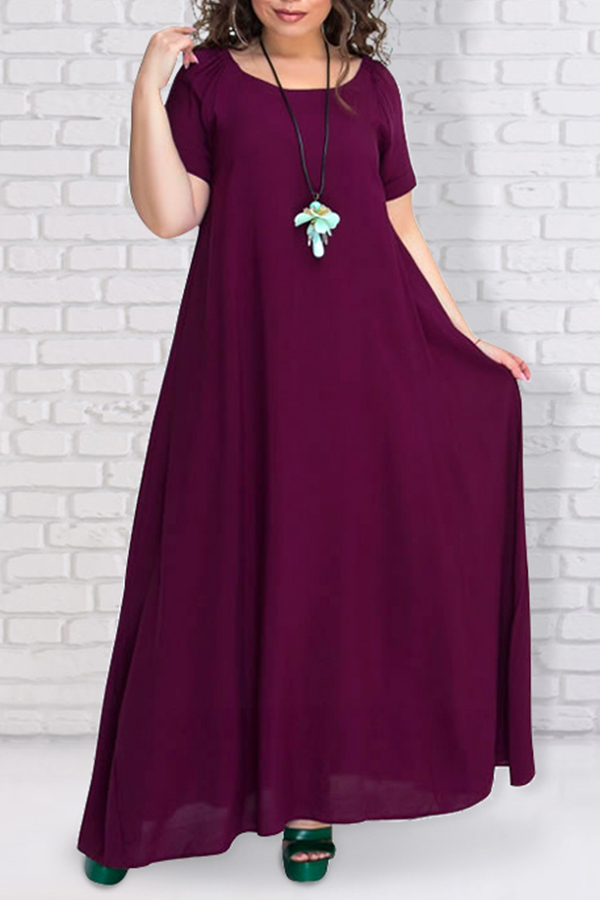 Lovely Casual Loose Wine Red Ankle Length Dress