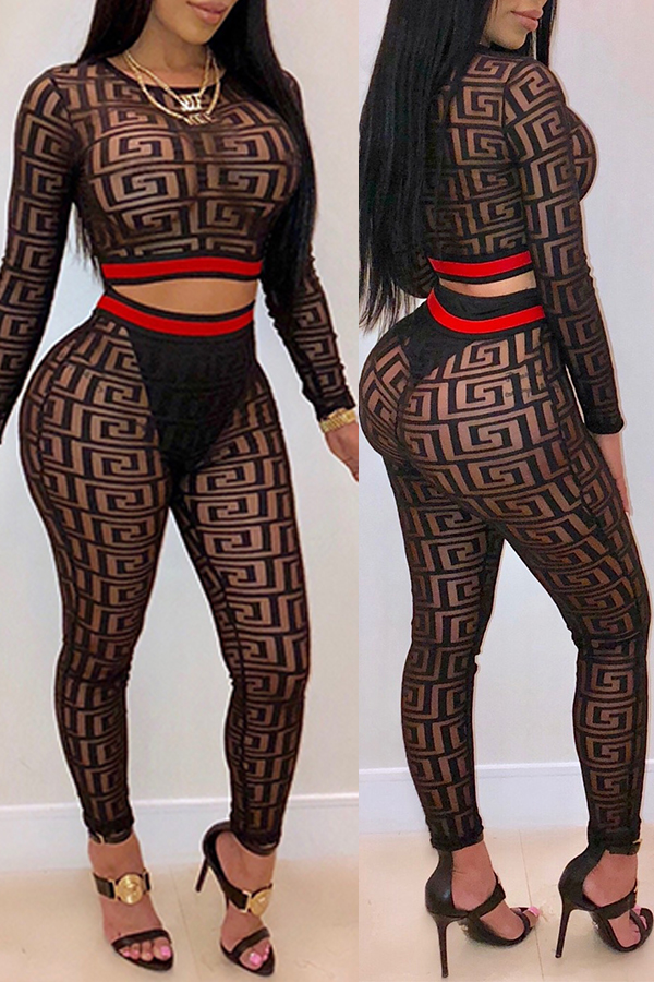 Lovely Sexy Printed Black Two-piece Pants Set