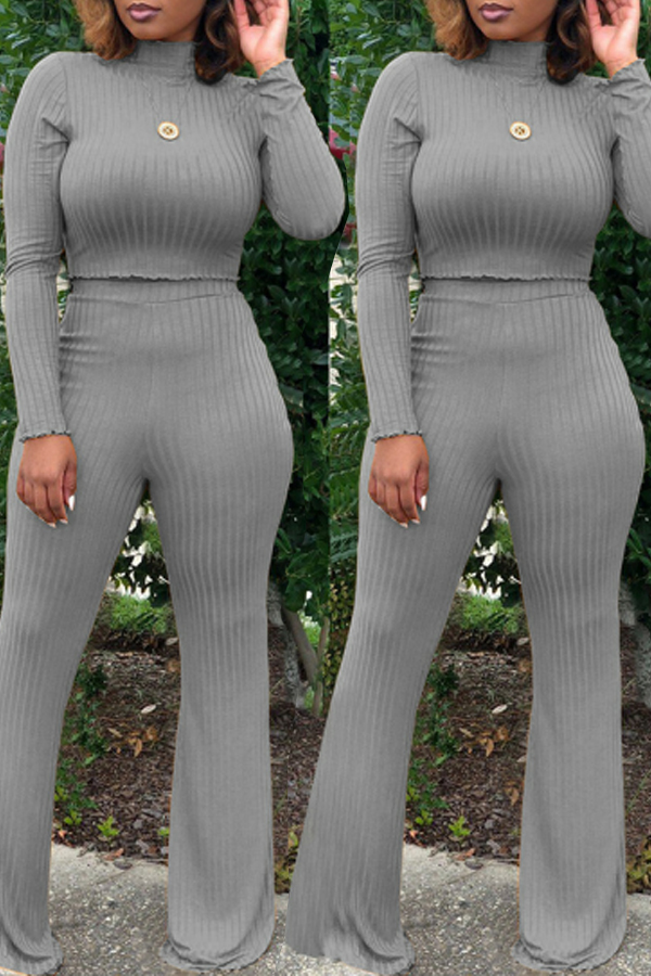 Lovely Casual Loose Grey Cotton Two-piece Pants Set