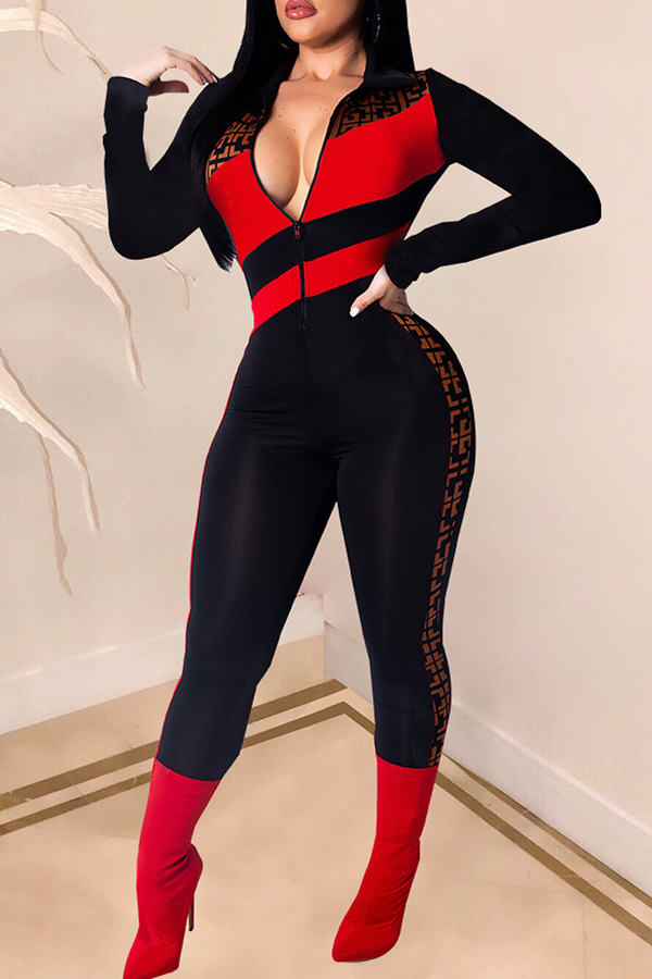 Lovely Trendy Patchwork Red One-piece Jumpsuit