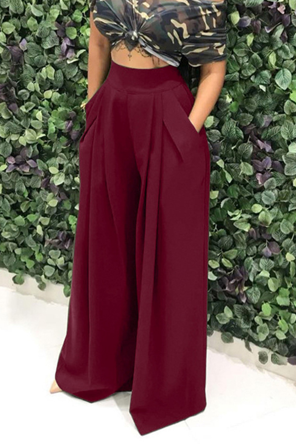 Lovely Casual Loose Wine Red Knitting Pants