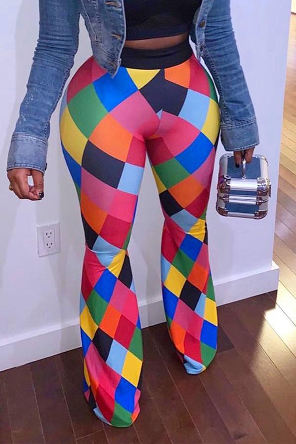 Lovely Trendy Color-lump Multicolor Pants