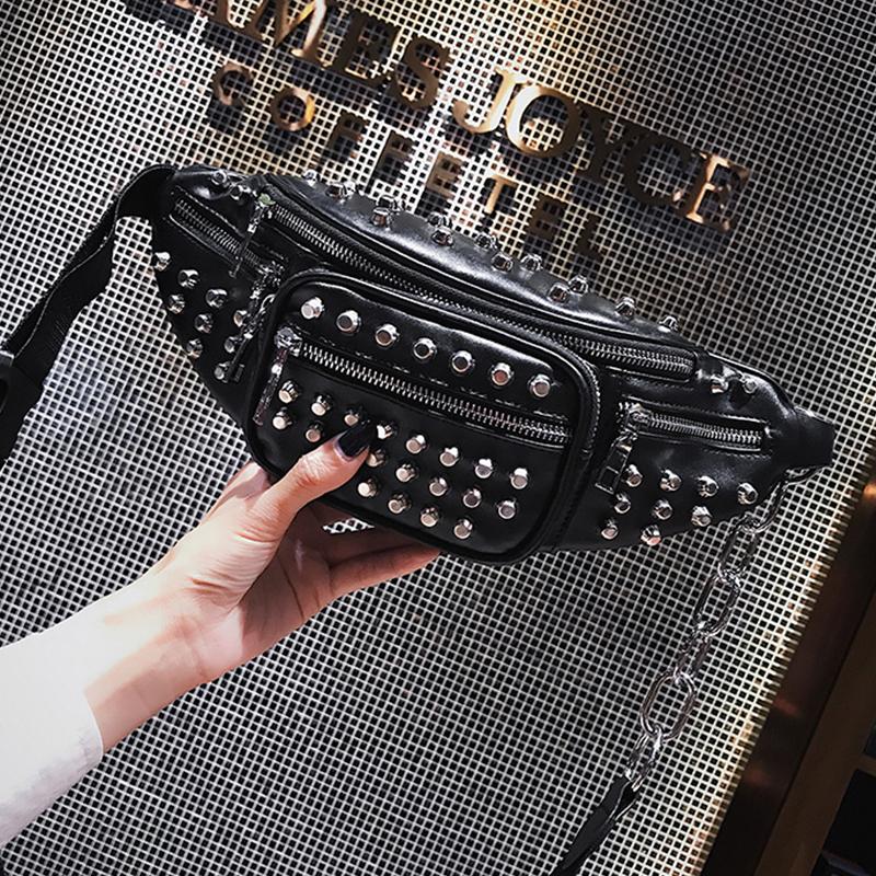 Lovely Trendy Rivet Decorative Black PU Crossbody Bag