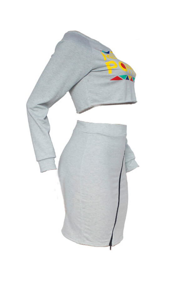 Lovely Euramerican Long Sleeves Letters Printed Grey Two-piece Skirt Set
