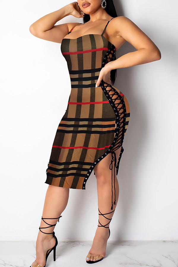 Lovely Trendy Grids Printed Brown  Knee Length Dress