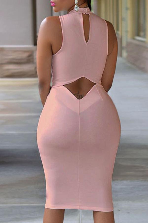 Lovely Work Tank Sleeveless Light Pink  Knee Length Dress