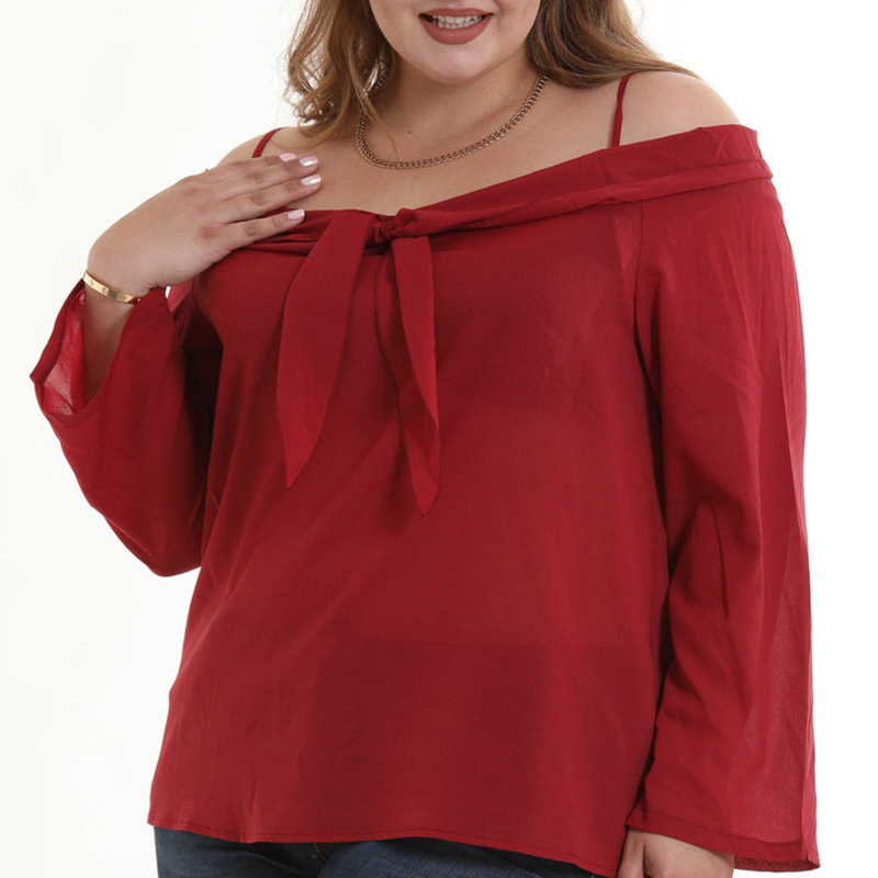 Lovely Trendy  Knot Wine Red Blouses