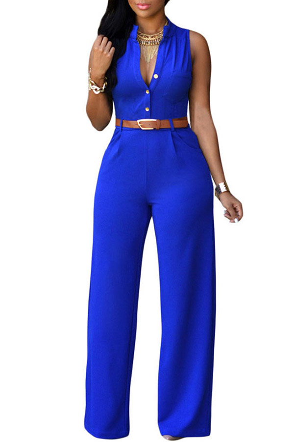Lovely Casual Loose Royal Blue One-piece Jumpsuit(With Belt)