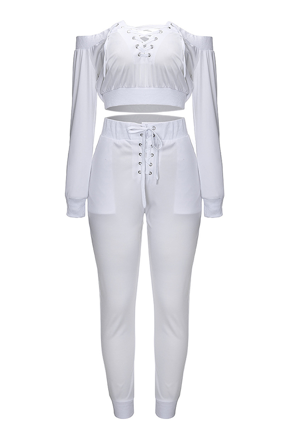 Lovely Euramerican Dew Shoulder White Twilled Satin Two-piece Pants Set