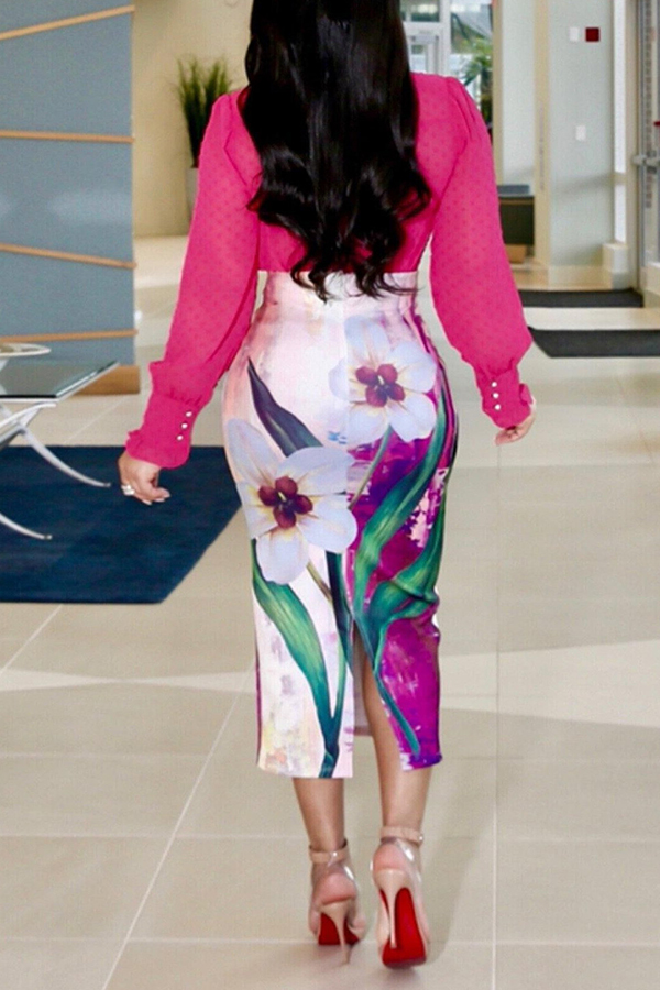 Lovely Work Floral Printed White Mid Calf Skirts