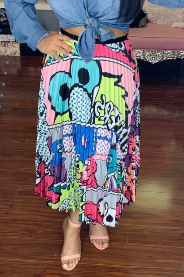 Lovely Trendy Character Blue Mid Calf  Skirts