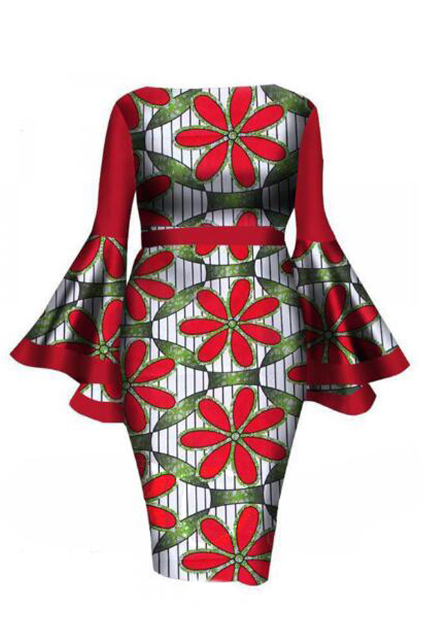 Lovely Trendy  Trumpet Sleeves Red Twilled Satin Knee Length Dress