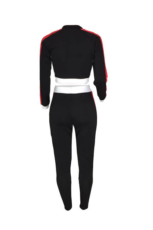 Precioso Conjunto De Pantalones De Dos Piezas De Poliéster Negro Con Patchwork De Cuello Redondo De Ocio.