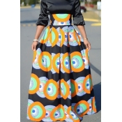 Lovely Casual Printed Orange Ankle Length A Line S