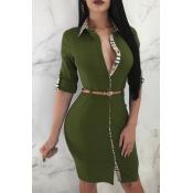 Lovely Trendy Patchwork Slim Army Green Knitting K