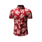 Lovely Trendy Floral Printed Red Cotton Shirts